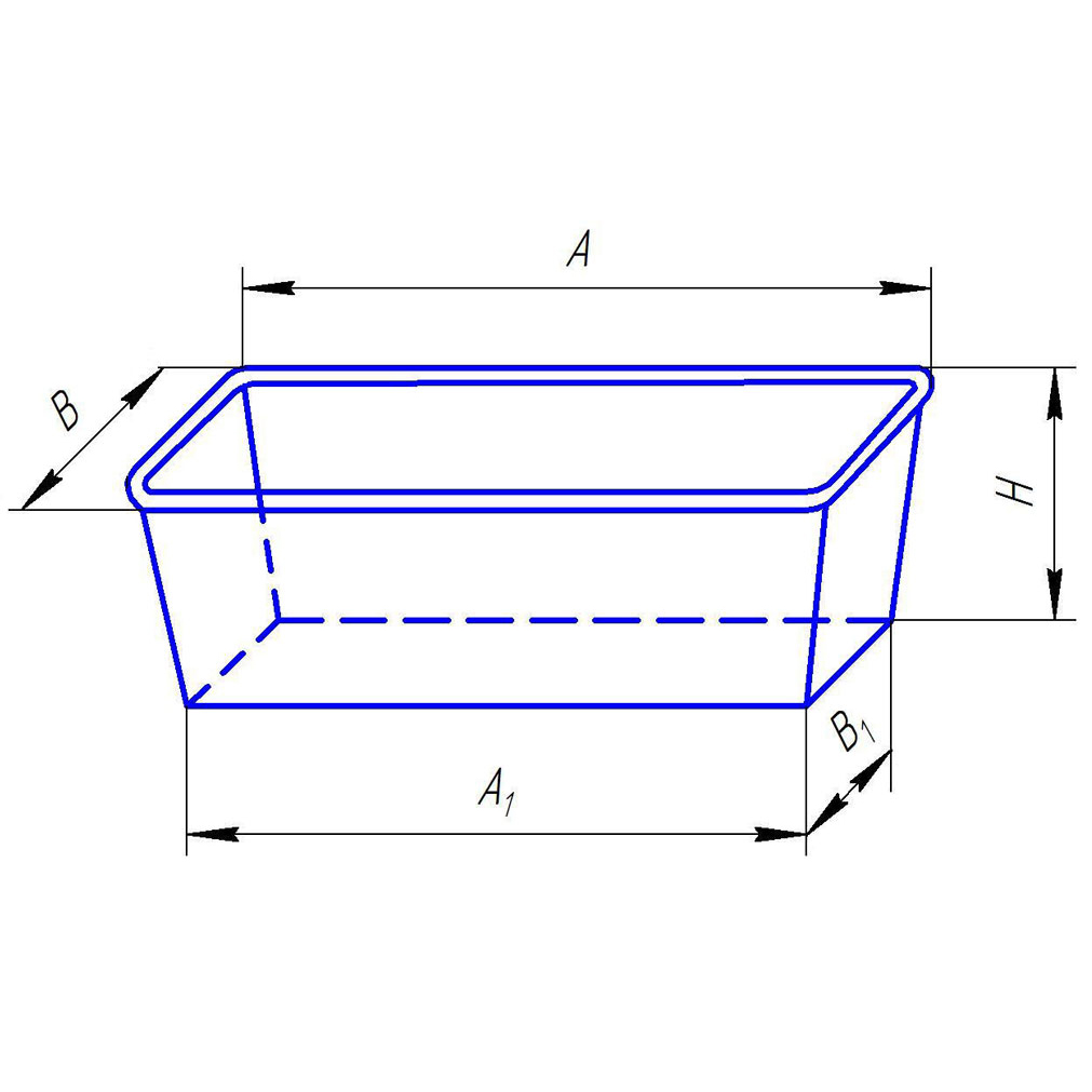 Габаритные размеры литых форм A и B – наружные