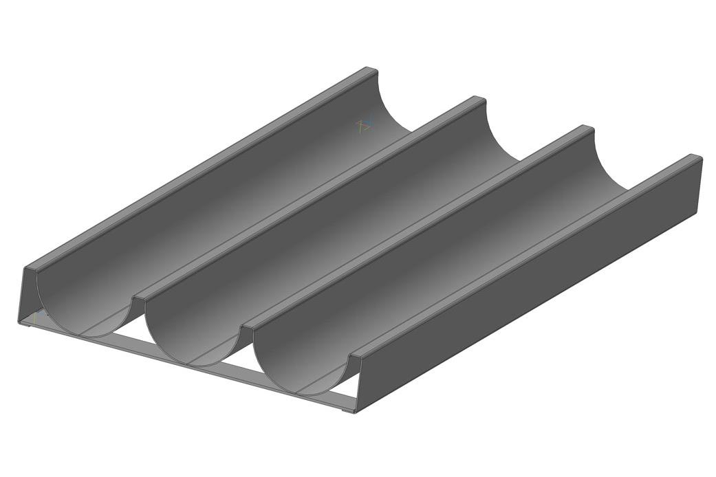 Лист волнистый неперфорированный стальной, на планках, 3 волны, глубина волны 40 мм, шаг 85 мм, размеры листа 600х300 мм; ЛПВ - 3С - П - 600х300х40