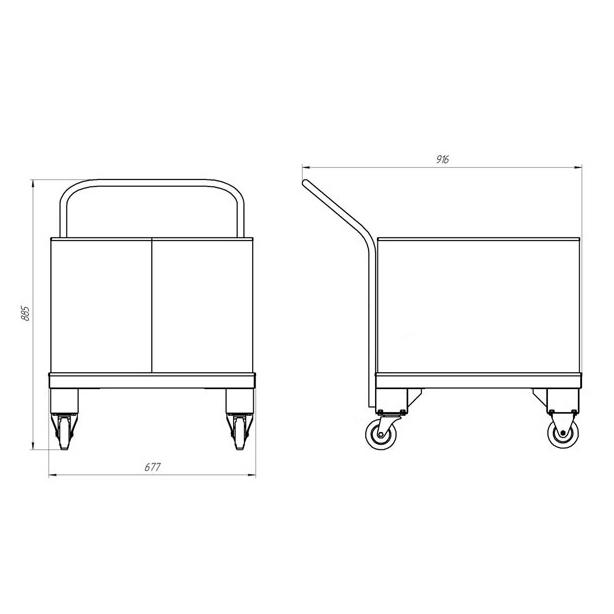 Габаритные размеры тележки с размерами короба 660х660х500 мм.
