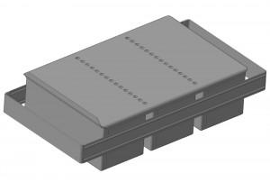 Сборка из 3-х гнутых тостовых форм прямоугольной формы с ручками и общей крышкой. Габаритные размеры сборки: 240х110х110 мм.