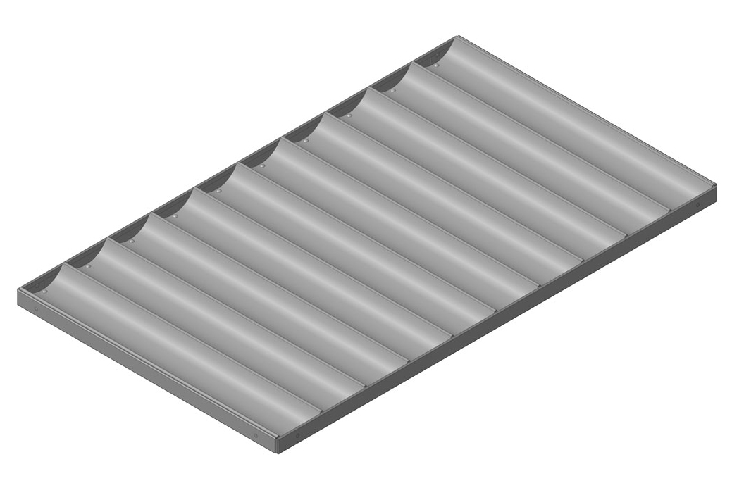 Лист волнистый перфорированный алюминиевый в рамке, 10 волн, глубина волны 30 мм, шаг 92* мм, размеры листа 580х980 мм; ЛПВ - 10А - Р- 580х980х30