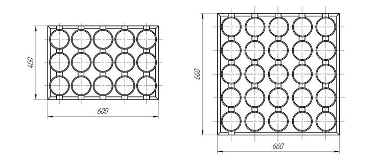 Сборка форм  15 ШК 20  с  размерами 400х600 мм (а) и 25 ШК 20 с размерами 660х660 (б). Основание – каркас из гнутого уголка.