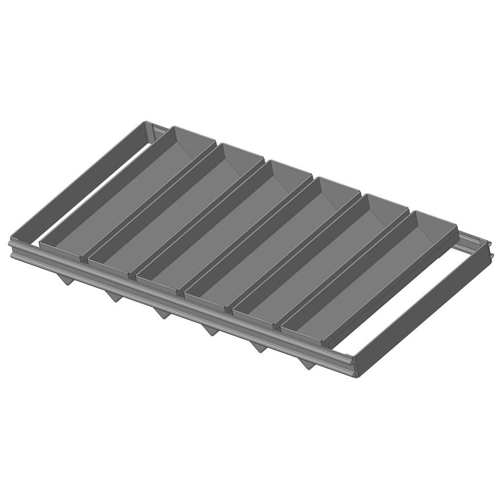 Сборка из 6-и треугольных гнутых форм с размерами 290х70х60 мм с ручками. Габаритные размеры сборки: 600х306х60 мм.