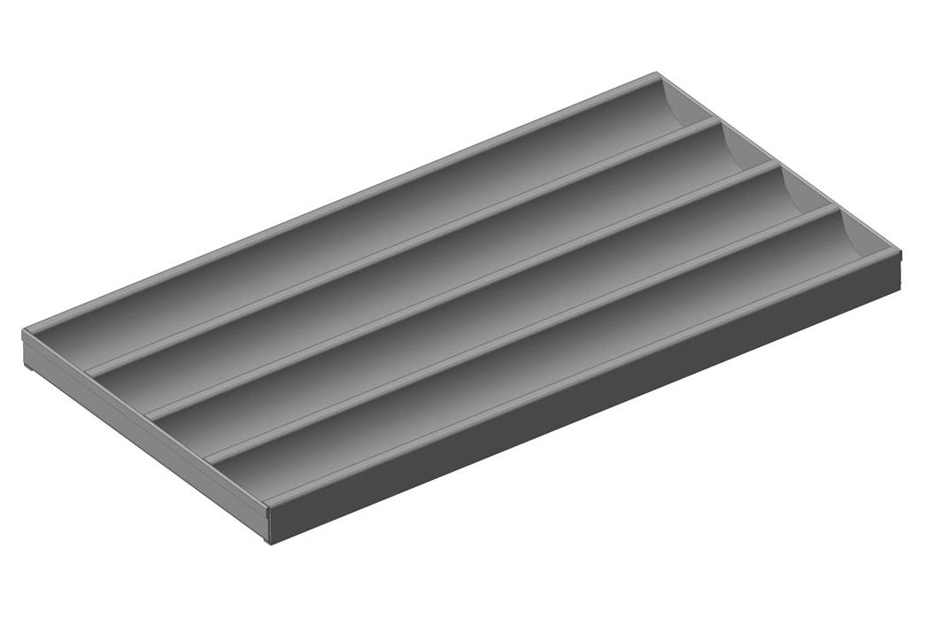 Лист волнистый перфорированный стальной, уголки с торца, 4 волны, глубина волны 30 мм, шаг 80 мм, размеры листа 600х320 мм; ЛПВ - 4С - РУ- 600х320х30