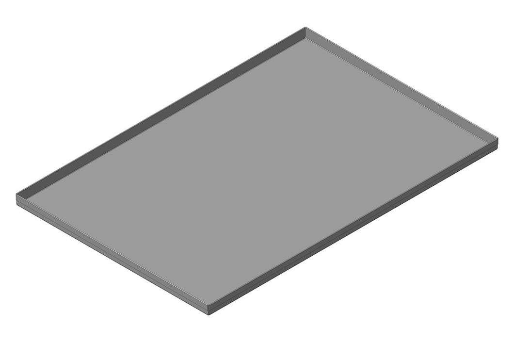 Лист плоский неперфорированный стальной,  4 борта х 90º  высотой  20 мм, размеры листа 400х600 мм; код изделия: ЛГ-4С-400х600х20