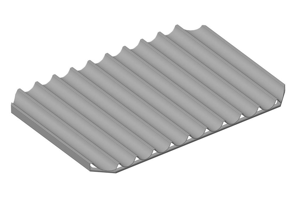 Лист волнистый перфорированный алюминиевый, на каркасе из профильной трубы 20х10 мм, 11 волн, глубина волны 30 мм, со срезанными углами,  размеры листа 740х1032 мм; ЛПВ – 11А - К - 740х1032х30
