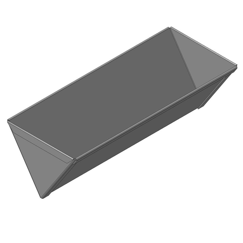 Форма треугольная гнутая с размерами 240х100х75 мм.*