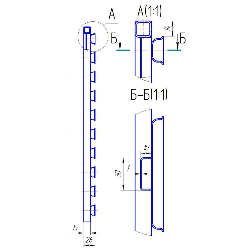 Способ  крепления  форм Ш22 на каркасе из стальной профильной трубы 15х15 мм
