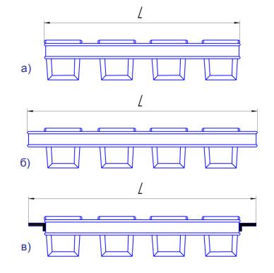 Варианты сборок тостовых форм в кассеты: а – без ручек;  б – с ручками;  в – с направляющими уголками